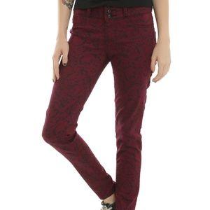 Hot Topic Blackheart Burgundy Skull Skinny Jeans